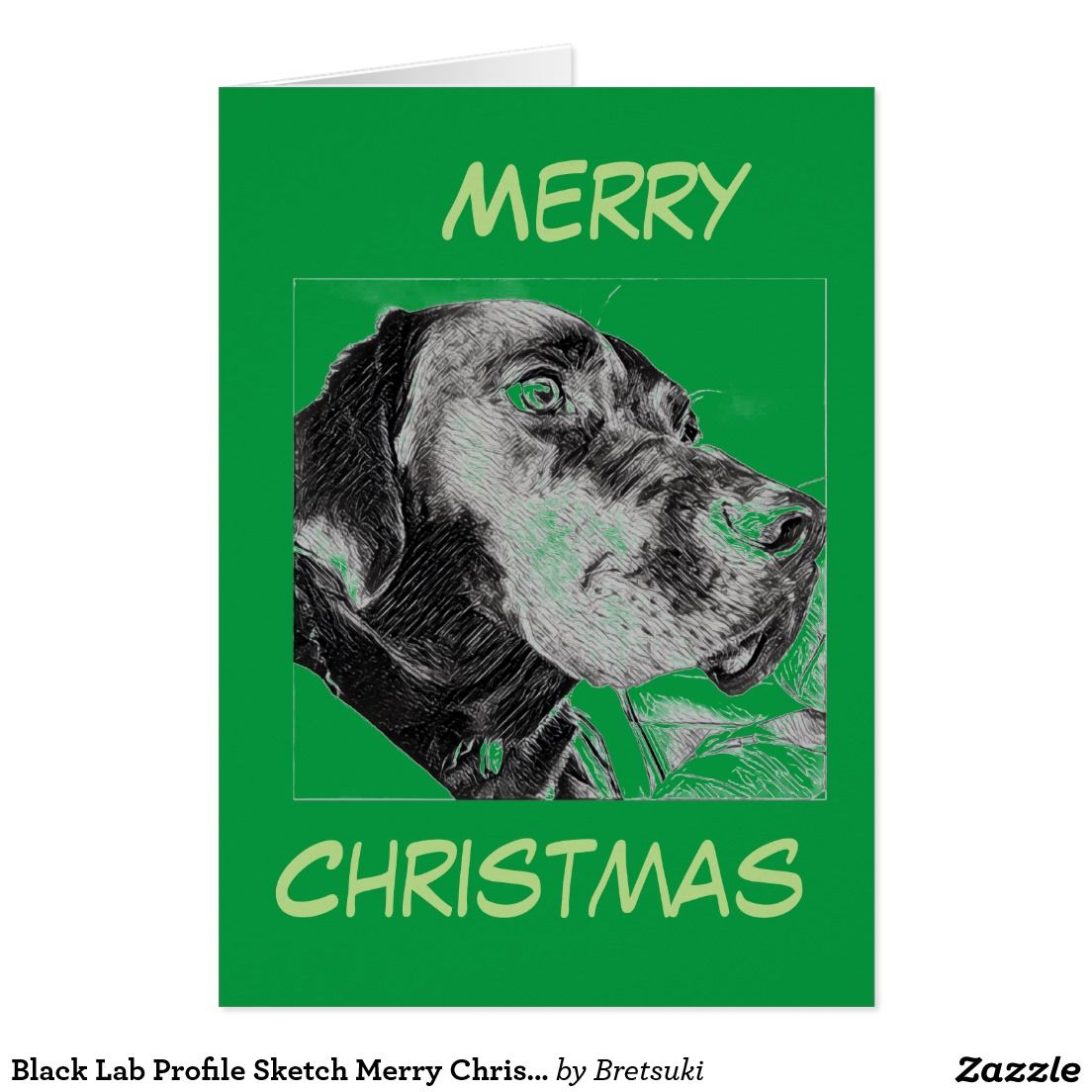Black Lab Profile Sketch Merry Christmas Greetings Holiday Card ...