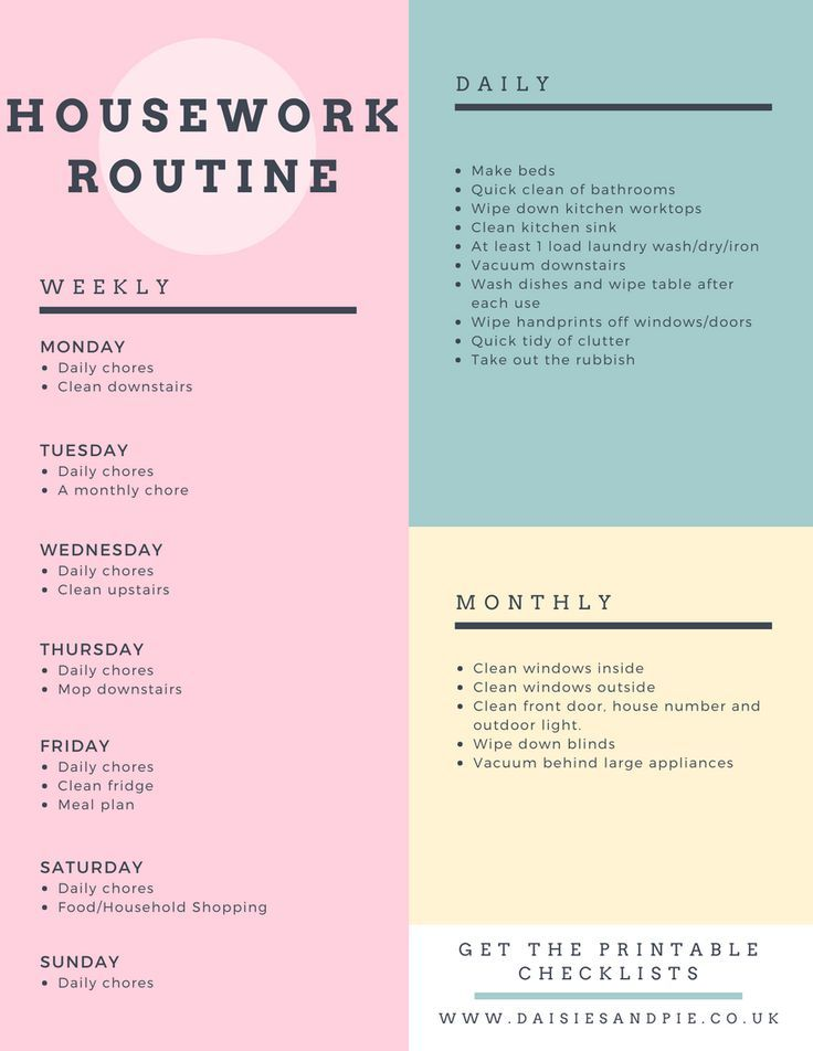 My easy housework routine Cleaning schedules, Homemaking and Easy - housework schedule