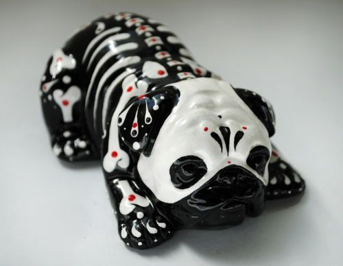 Day Of The Dead Painted Sugar Skull Dog Statue Pug Bulldog Puppy