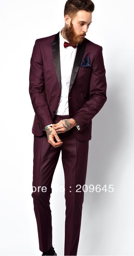 Wholesale Stylish Groom Men Purple Red Tuxedo Black Peak Lapel ...