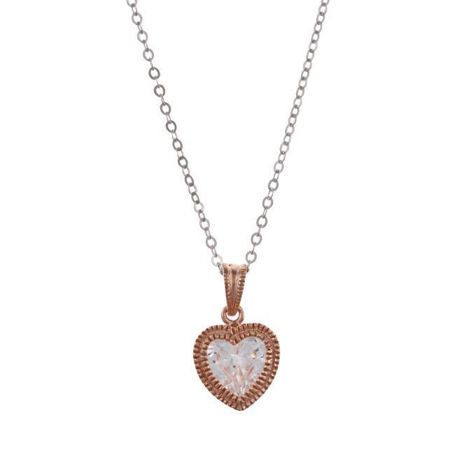 La Preciosa Sterling Silver Rose Goldtone Cubic Zirconia Heart Necklace, Women's