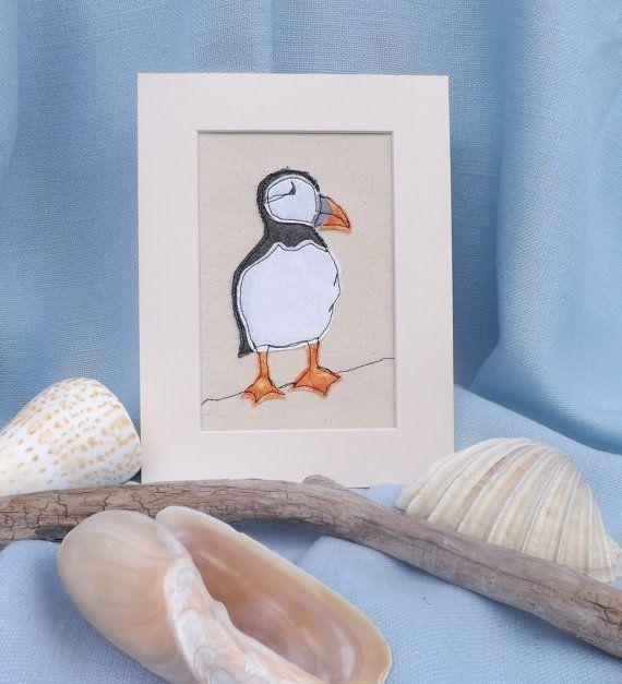 Puffin applique embroidery textile art, seaside, beach, sea bird