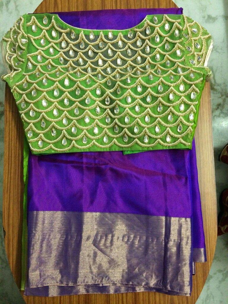 1616e2eb722632 uppada pattu blouse kundan n pearl embroidery to buy WhatsApp on 9703713779