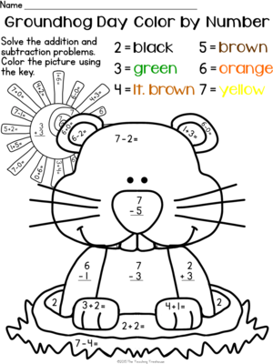 math worksheet : alfa img  showing u003e winter color by number subtraction  happy  : Groundhog Day Math Worksheets