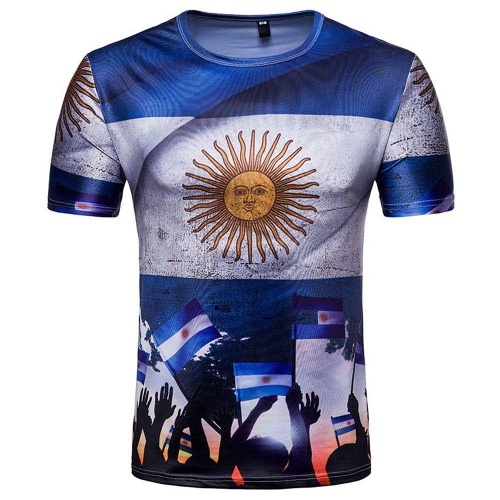 Russian World Cup Pampas Eagle Argentina Mens Short Sleeved T Fashion Big Size Shirt Spain 3xl Shirts Blue M
