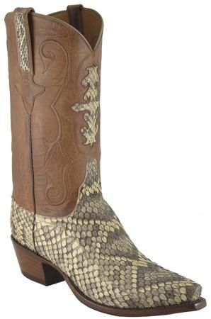 Lucchese Classics L1337 Mens Natural Eastern Rattlesnake Boots Cowboy Boots Lucchese Boots Mens Boots