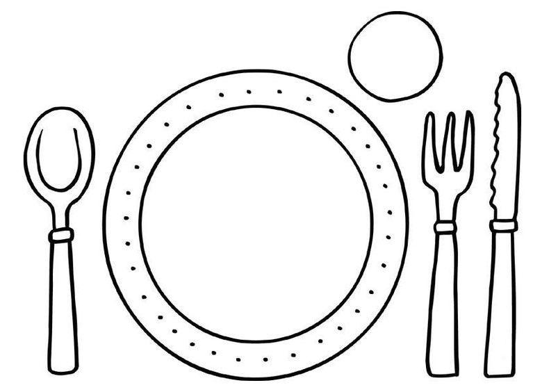 kleurplaat bord en bestek restauranthoek