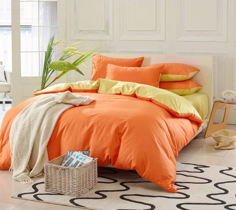 Aliexpress Com Buy Double Solid Color Pure Bright Yellow Orange Patchwork Cotton Bedding Set 4pcs Comfor Cotton Bedding Sets High Quality Bedding Bedding Set