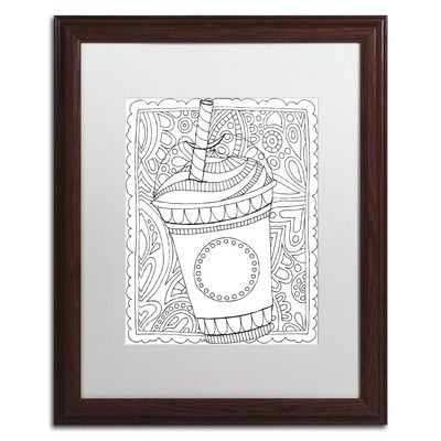 "Trademark Art 'Frappuccino' by Hello Angel Framed Graphic Art Size: 20"" H x 16"" W x 0.5"" D, Matte Color: White"