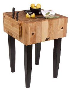 24 in. Kitchen Butcher Block (Eggplant) by John Boos. $699.00. Knife holder. Black legs tapered at the bottom. Finish: Eggplant. Includes board cream with beeswax. 10 in. thick butcher block. PCA BLOCK 24X24X10W/HOLDER-LEGS EGG
