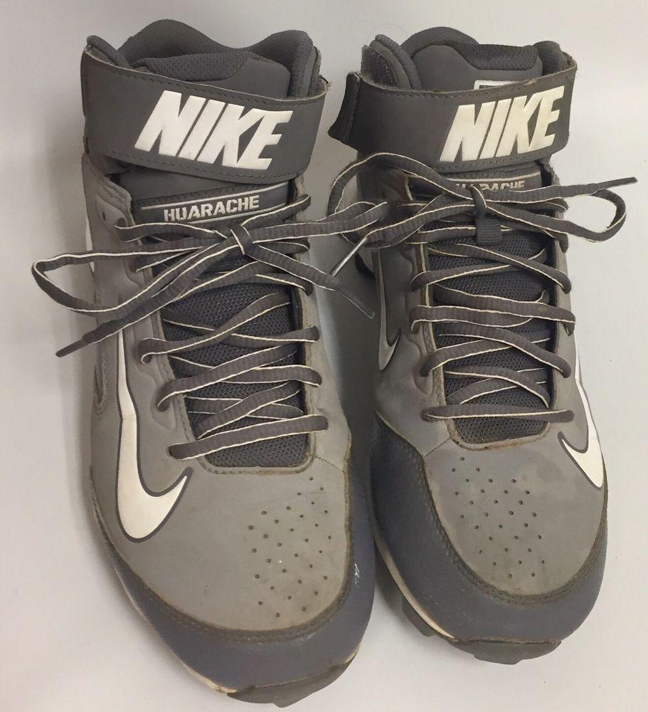 Nike Baseball Cleats Huarache High Tops Molded Shoe Gray White Size 8.5 |  eBay