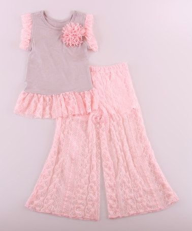 fbb6edf6d Pink   Silver Lace Top   Palazzo Pants - Toddler   Girls by Mia ...