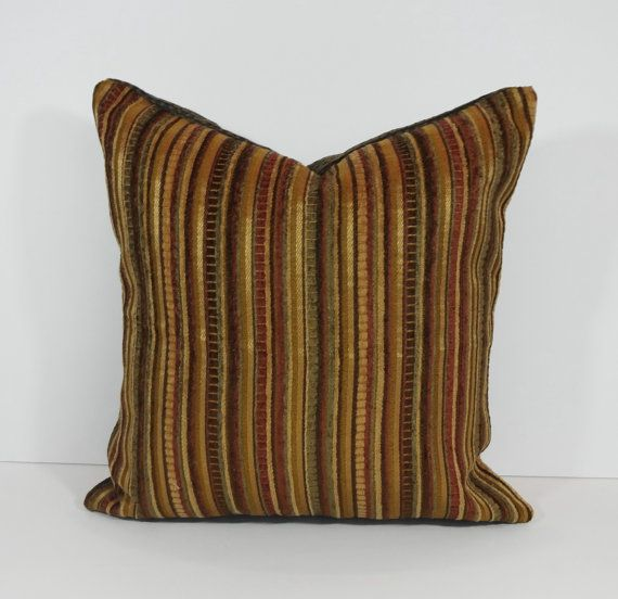 Decorative Chenille Pillow Cover Throw Pillow Cushion Gold Brown Burgundy Olive Green Chenille Pillow Pillows Chenille Brown and gold throw pillows