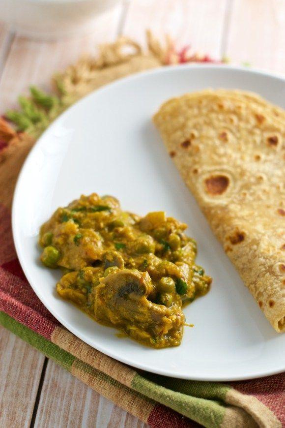 Matar Mushroom Gravy Recipe Indian Food Recipes Vegetarian Stuffed Mushrooms Mushroom Recipes Indian