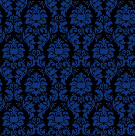 Damask Wallpaper Seamless Background Blue And Black