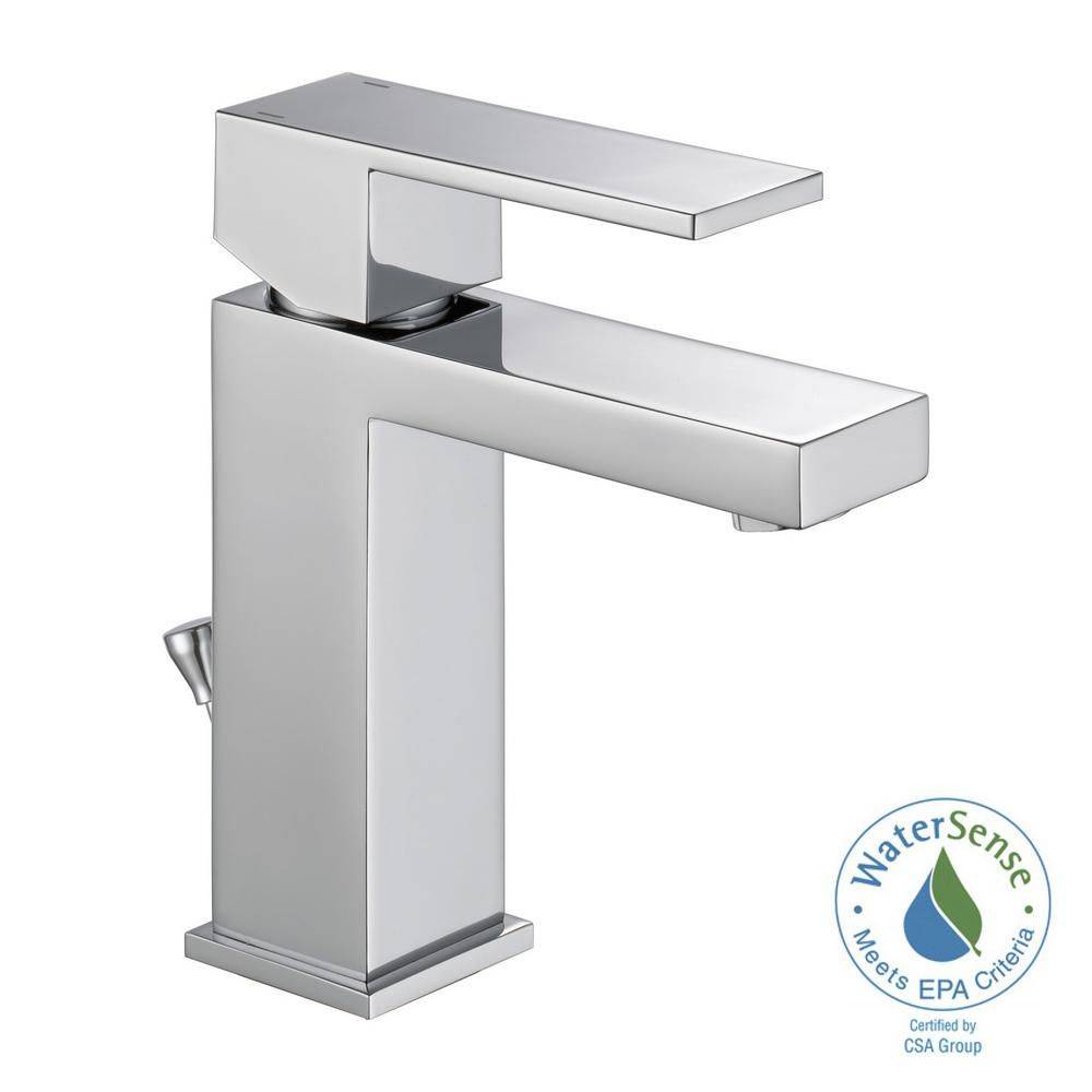 Delta Modern Single Hole Single Handle Bathroom Faucet In Chrome 567lf Pp The Home Depot In 2021 Single Handle Bathroom Faucet Bathroom Faucets Faucet [ 1000 x 1000 Pixel ]