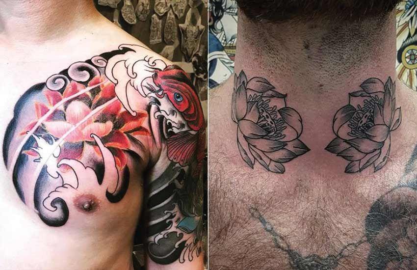 chest tattoo men lotus Google Search Men flower tattoo
