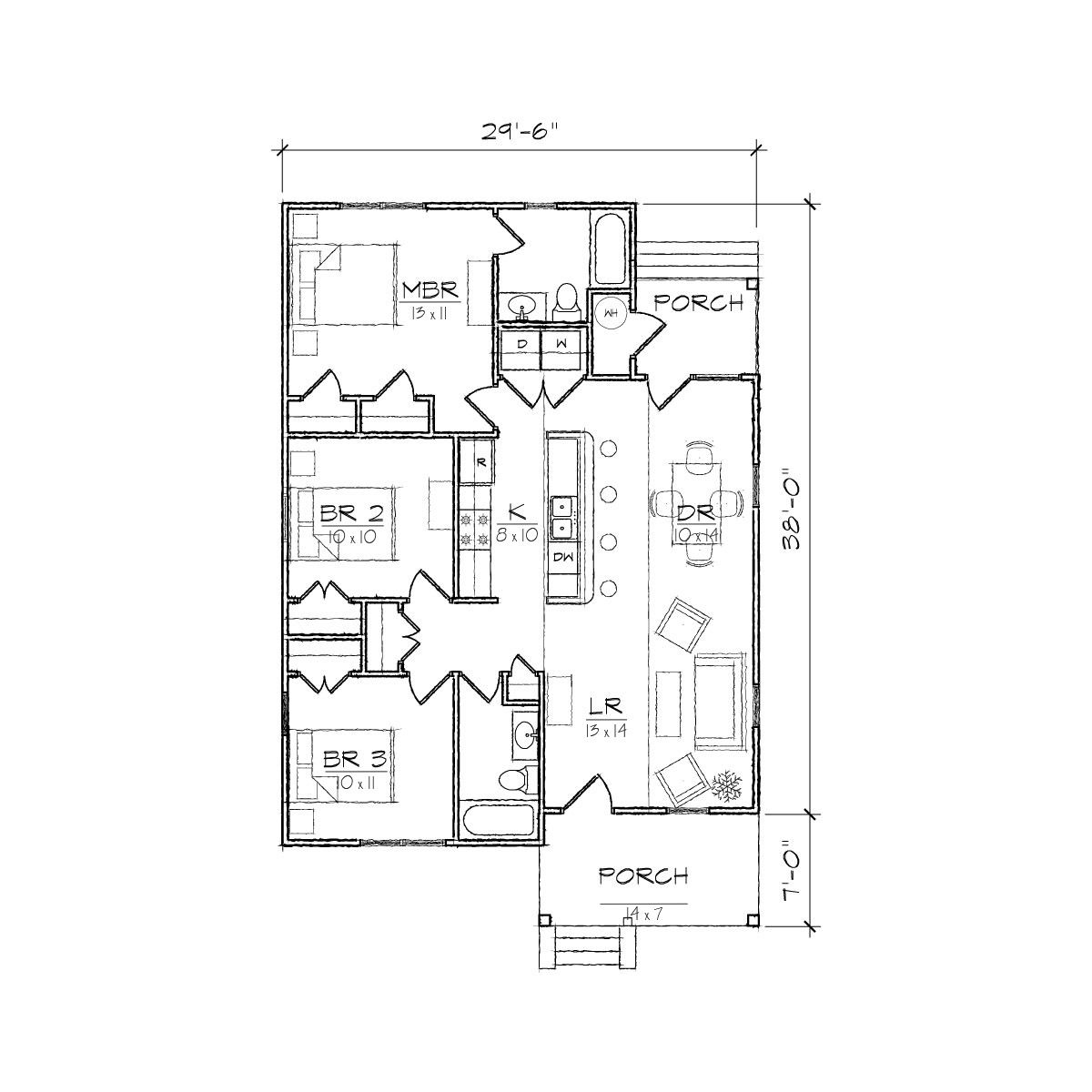 Bungalow Design Floor Plans: Carolinian I Bungalow Floor Plan