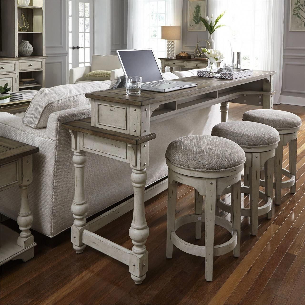 Antique White 4 Piece Console/Bar Stool Set - FREE SHIPPING - High Point-Discount #furniture  #fitne...