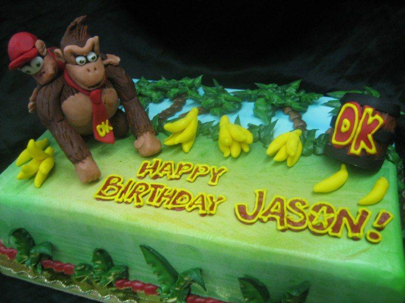 Admirable Donkey Kong Birthday Cake Kids Themed Birthday Parties Birthday Funny Birthday Cards Online Amentibdeldamsfinfo
