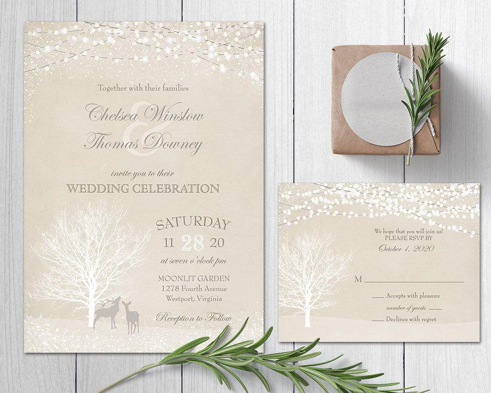 Christmas wedding invitations with rsvp