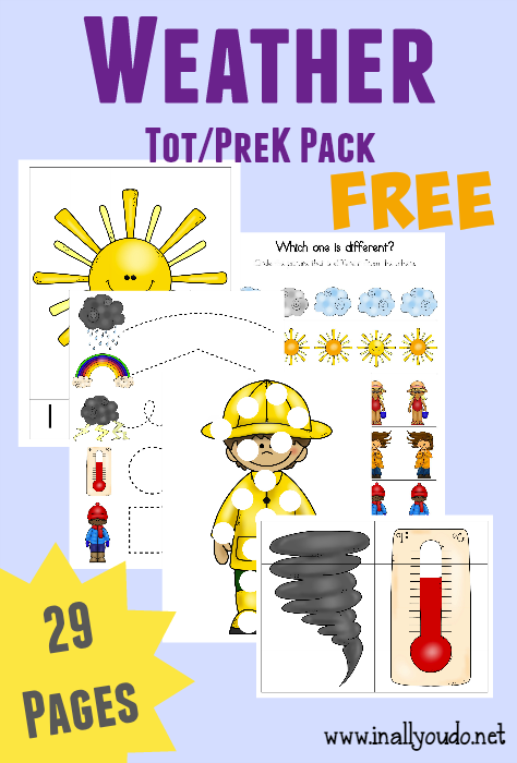 free weather tot prek k pack free printable of the day teaching weather preschool weather. Black Bedroom Furniture Sets. Home Design Ideas