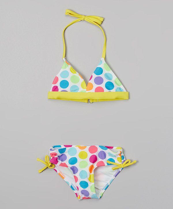 21b474fc743 Look at this Yellow Rainbow Polka Dot Bikini - Girls on #zulily today!