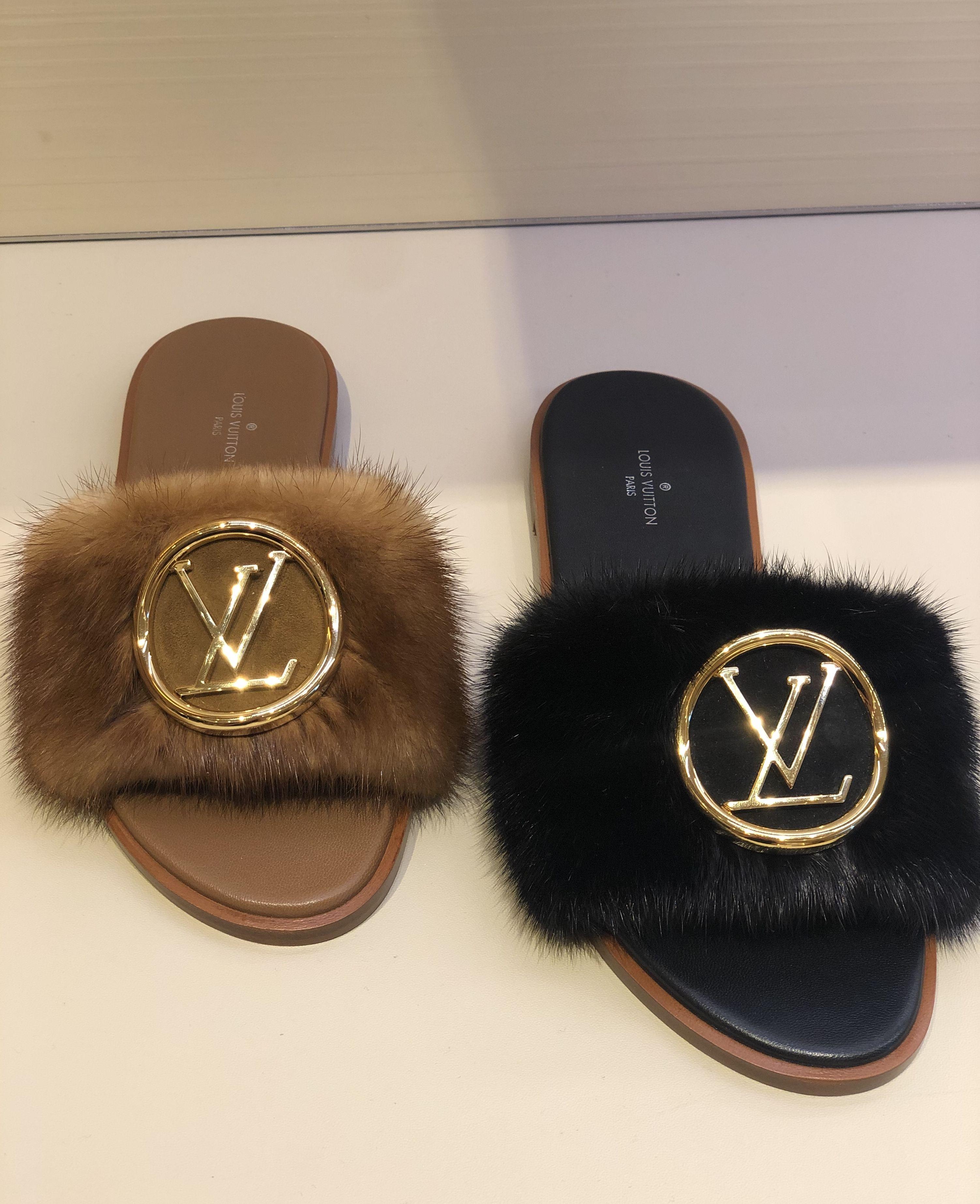 Louis Vuitton Lock it mules in soft mink fur