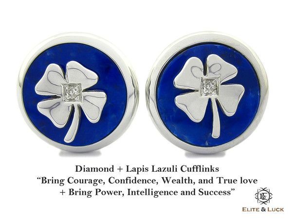 """Diamond + Lapis Lazuli Sterling Silver Cufflinks, Rhodium plated, Lucky Model """"Bring Courage, Confidence, Wealth, and True love + Bring Power, Intelligence and Success"""" *** Combine 2 Gemstone Powers to double your LUCK ***"""