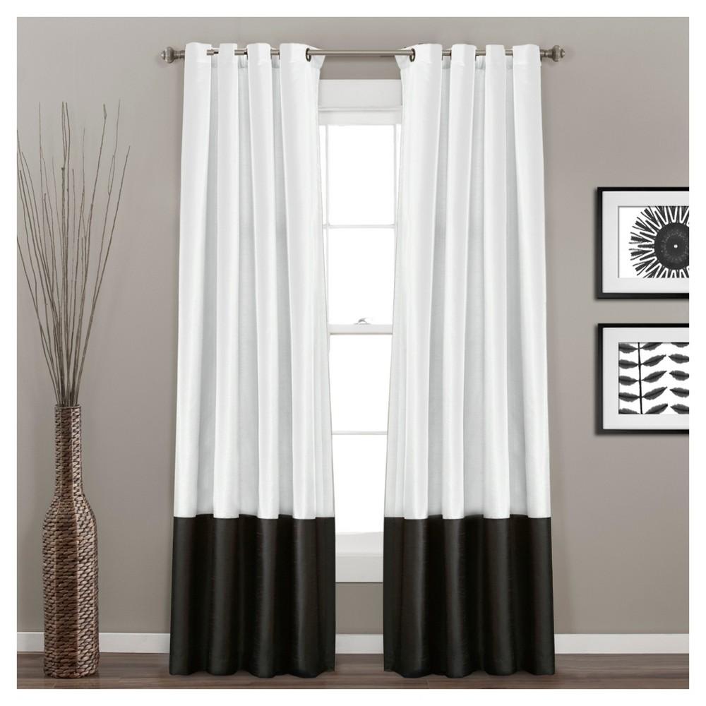Prima Window Curtain Panel Pair Black White 84X54