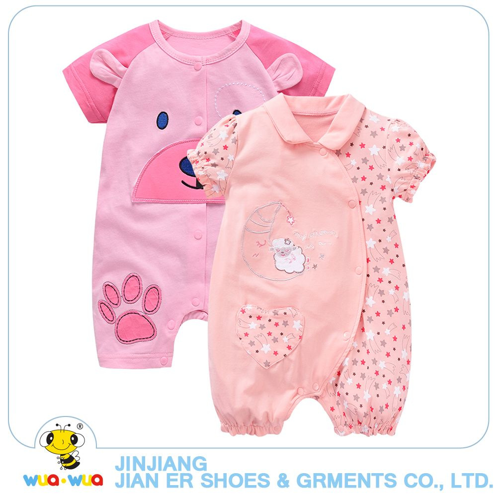 e15c383eabc Wuawua 2pcs A Lot Newborn Baby Clothes 0-18month Baby Girl Romper Short  Sleeve Cotton Jumpsuit Hot Selling Baby Rompers Pink