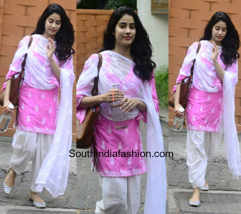 d523df70cd Jhanvi Kapoor was snapped after dance class in a simple pink and white  salwar suit.