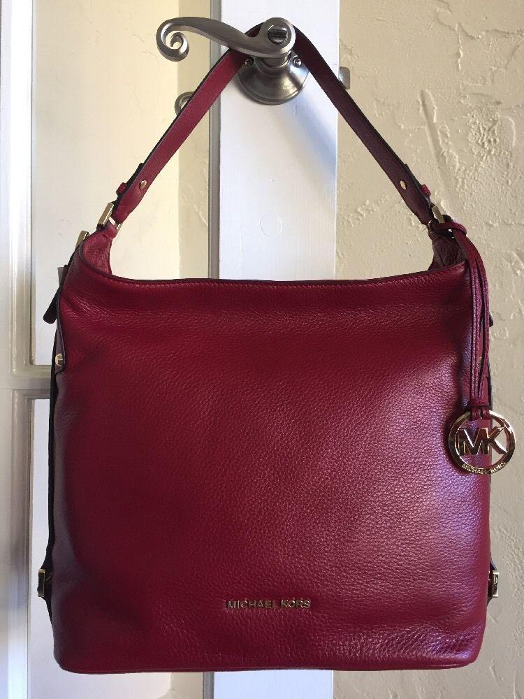 cf4e5db6ce4b ... sweden michael kors bedford belted large shoulder bag cherry red  leather ebay 6a7c2 d0835