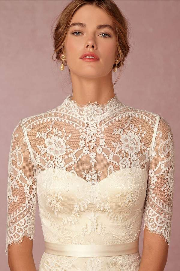 vintage wedding dress bodice with lace sleeves and high neckline @myweddingdotcom