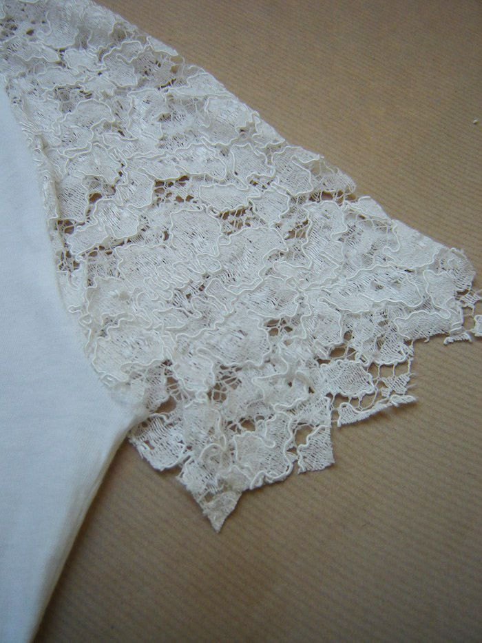 How to embellish tee-shirt shoulders with lace ? DIY by Virginie ...