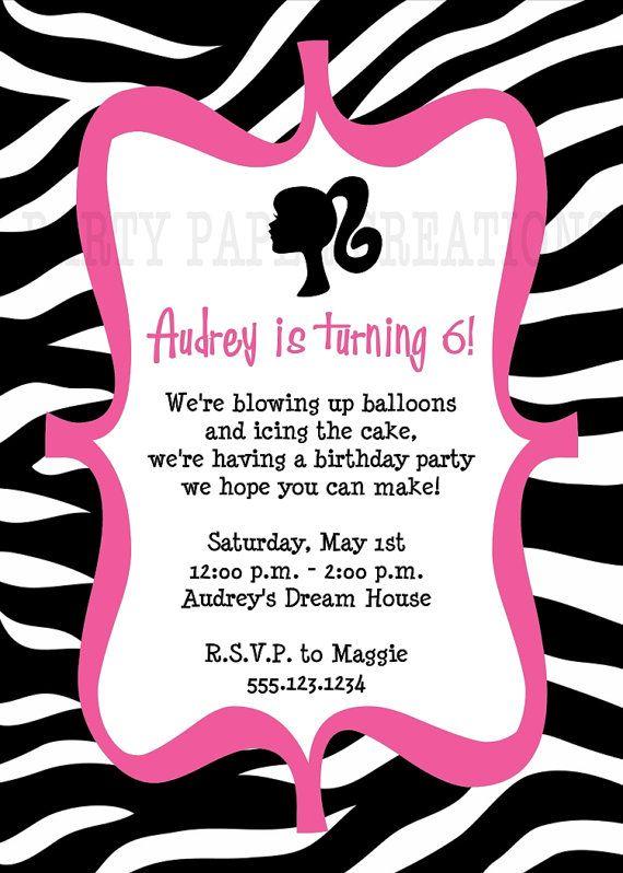 Printable Barbie silhouette birthday invitation