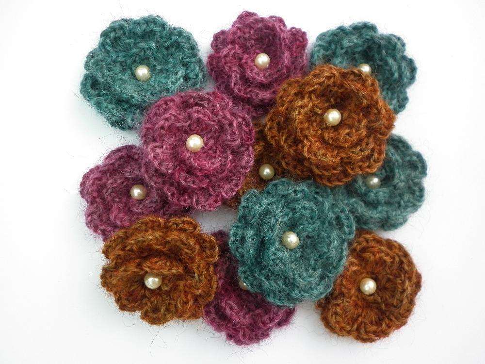 Yarndale Flower Brooch Crochet Flowersleavesberriesfreeform