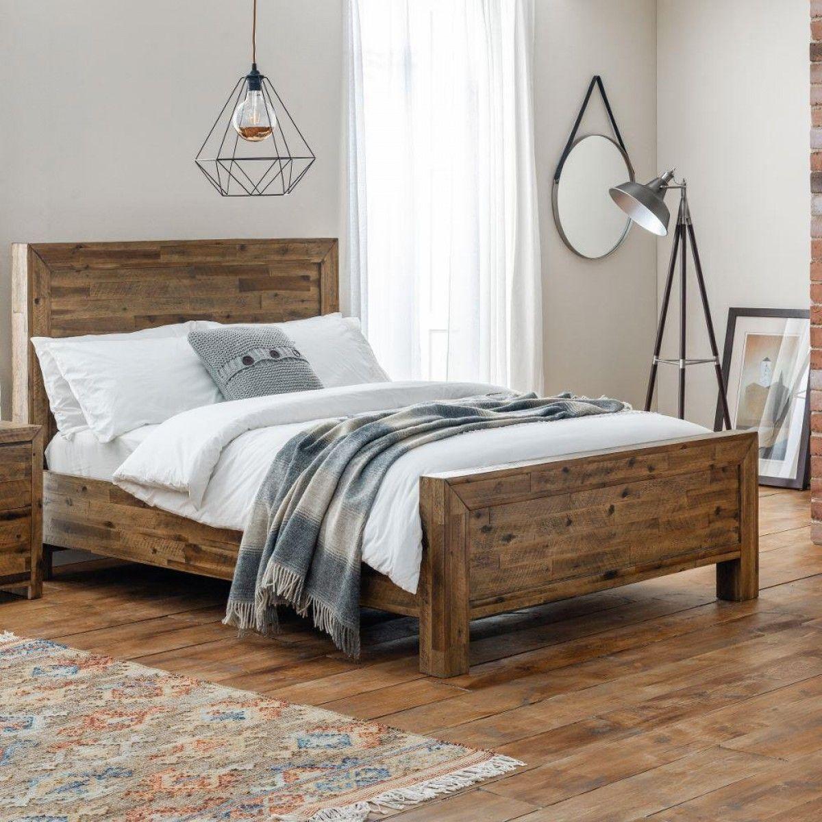 Hoxton Rustic Oak Wooden Bed In 2020 Wooden Bed Frames Oak Beds