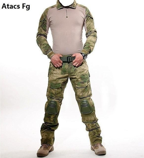 b339de2fbb040 Tactical Camouflage Military Uniform Clothes Suit Men Us Army Multicam Airsoft  Combat Shirt +