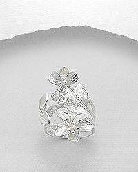 925 sterling silver flower ring set with cz