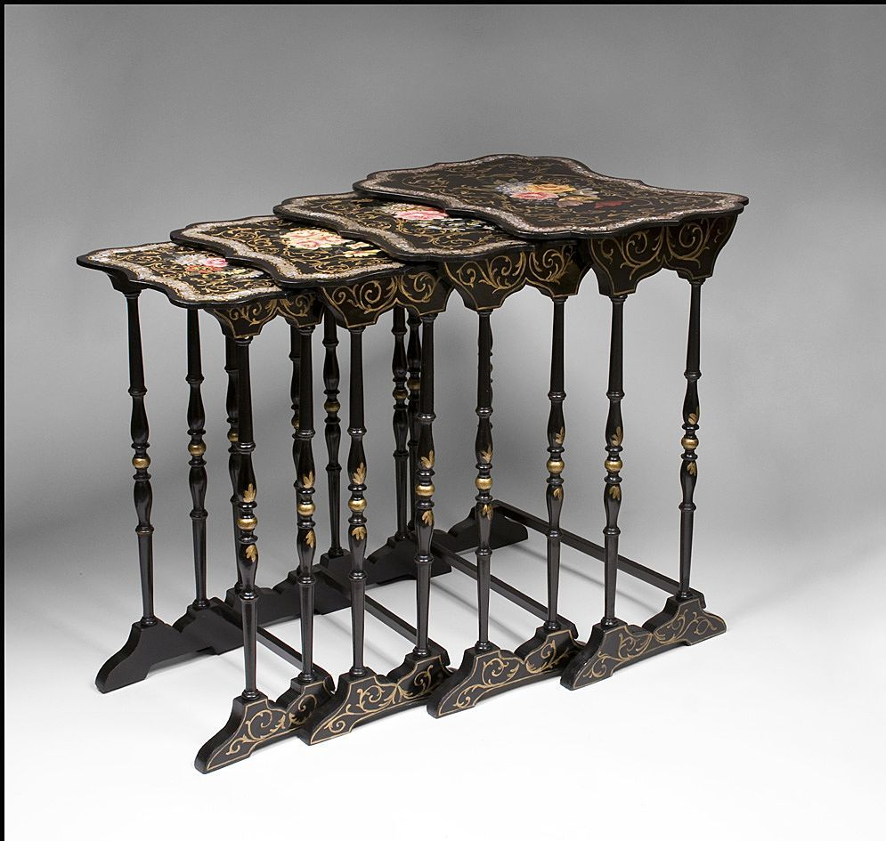 Victorian furniture table - A Rare And Extraordinary Set Of Four English Victorian Papier Mache Nesting Tables With A Black Lacquer Finish Embellished With Abalone Shell Inlay