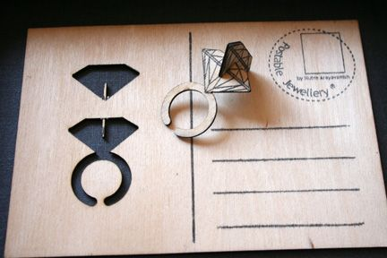Nutre Arayavanish - Postable Jewellery is the spacial way of communication. It is a jewellery that can be send through mailbox, like a postcard. It is a flat-pack ring, assemble by slotting each components together. Presenting itself as a card and a gift, it can be a perfect present for any occasions