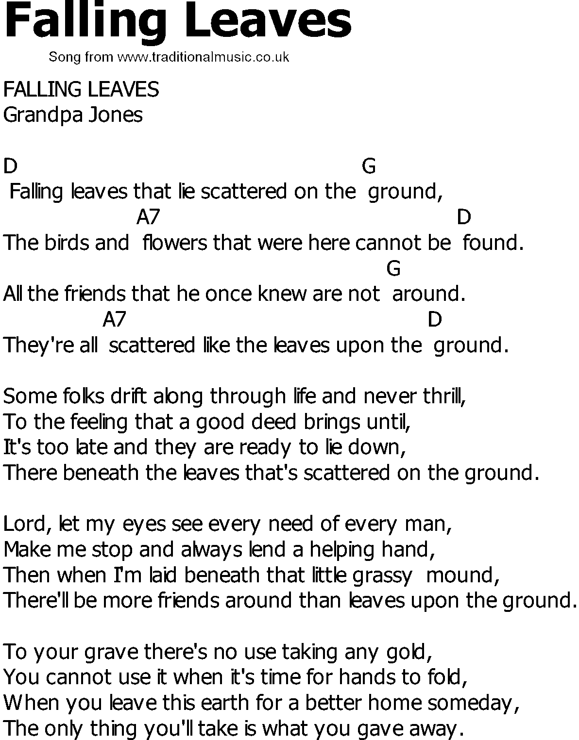 Old Country Song Lyrics With Chords Falling Leaves Bluegrass In