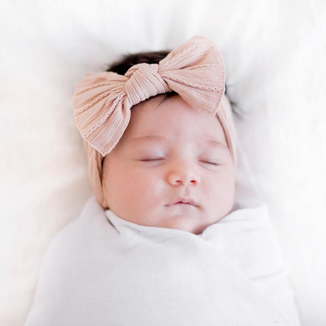 Blush Cable Knit Baby Bling Bow.  8b7b18bf263