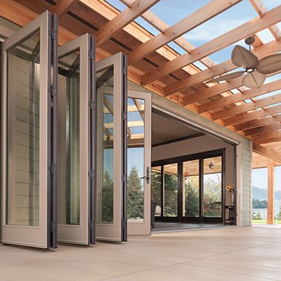 Folding Patio Doors Creates An Open Floor Plan To The