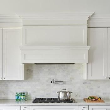 White Wood Panel Range Vent Hood With Pot Filler Kitchen Marble White Wood Paneling Marble Tile Kitchen