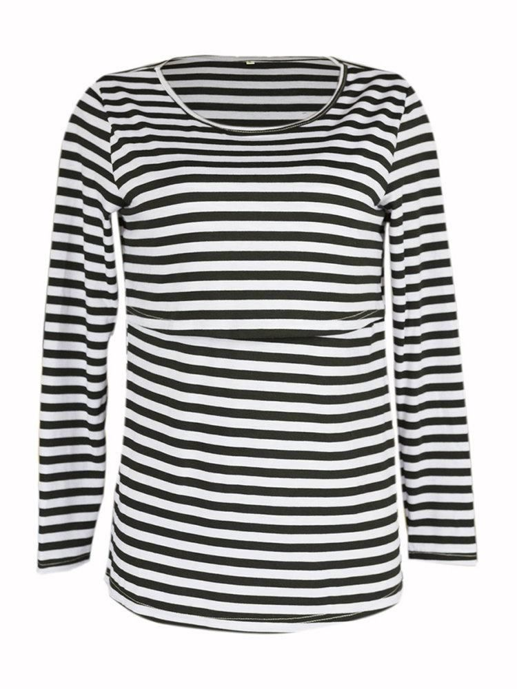 0a5846454 Newbabychic Front Open Pregnant Women Striped Long Sleeve T-shirt