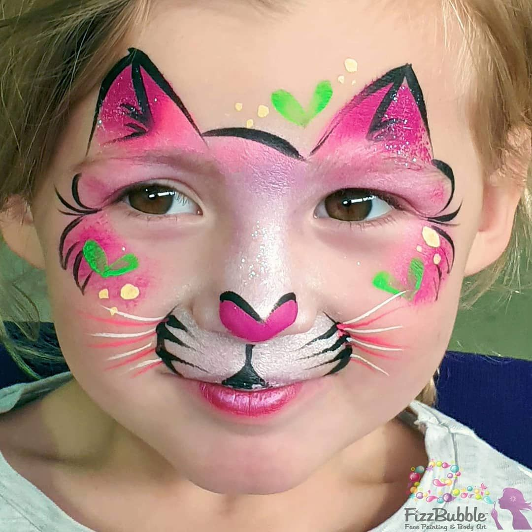 Jo Bertram On Instagram A Simple Kitty Cat For Those Tiny Little Faces Swipe Left For The Mirror Kitty Face Paint Face Painting Halloween Leopard Face Paint