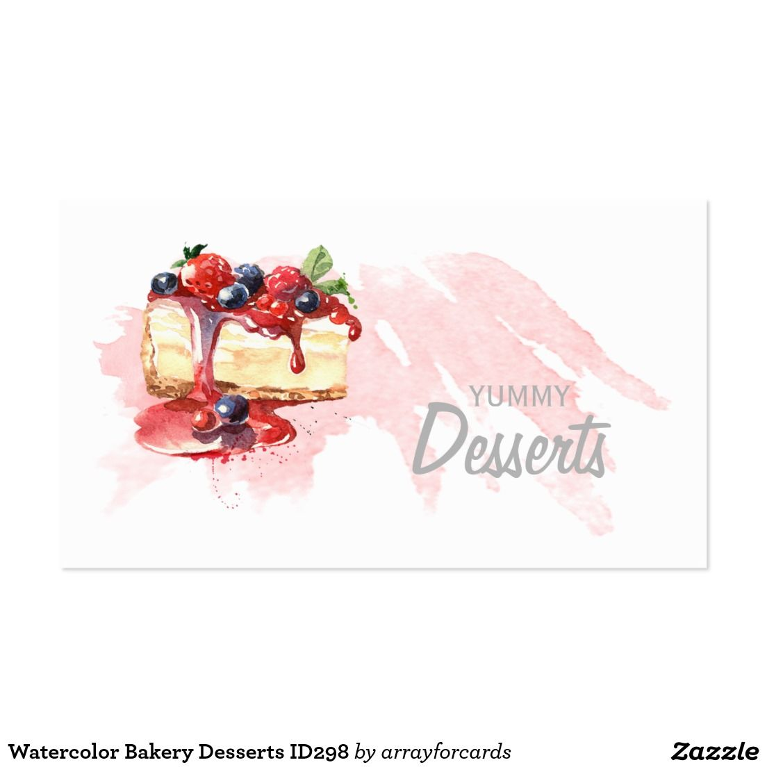 Watercolor Bakery Desserts ID298 Business Card.....Chic ...