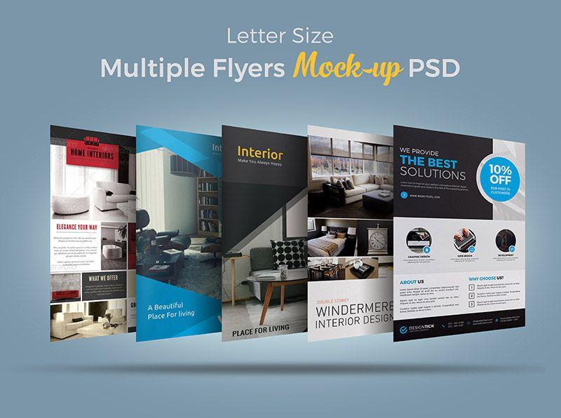 Free letter size multiple flyers bundle mockup psd in